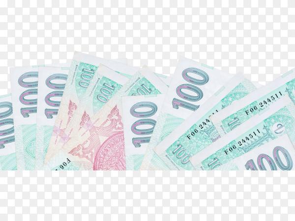 czech koruneuro bills banknote on transparent background PNG