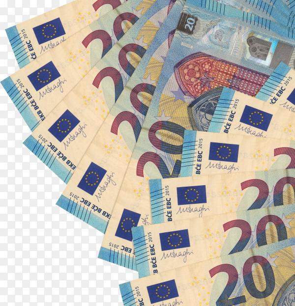 Euro bills banknote on transparent background PNG