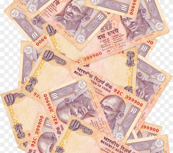 Indian rupeeseuro bills banknote on transparent background PNG