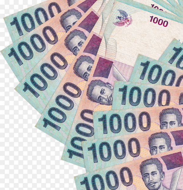 Indonesian rupiah euro bills banknote on transparent background PNG