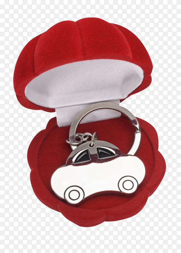 keychain car in red gift box on transparent background PNG