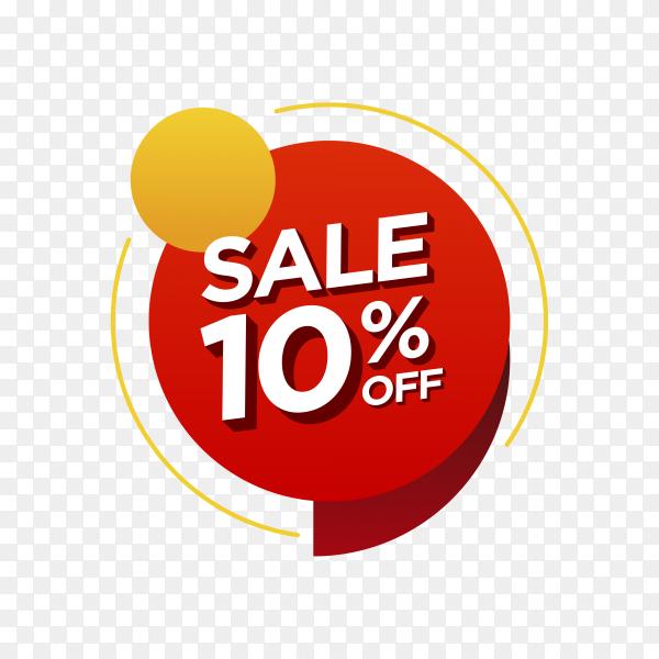 10 percent off sale badge on transparent background PNG