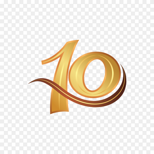 10th anniversary logotype design, ten years celebrate anniversary logo on transparent background PNG