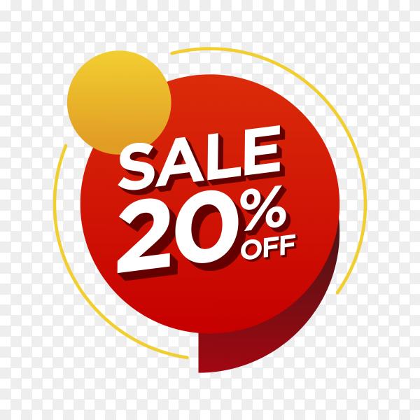 20 percent off sale badge on transparent background PNG