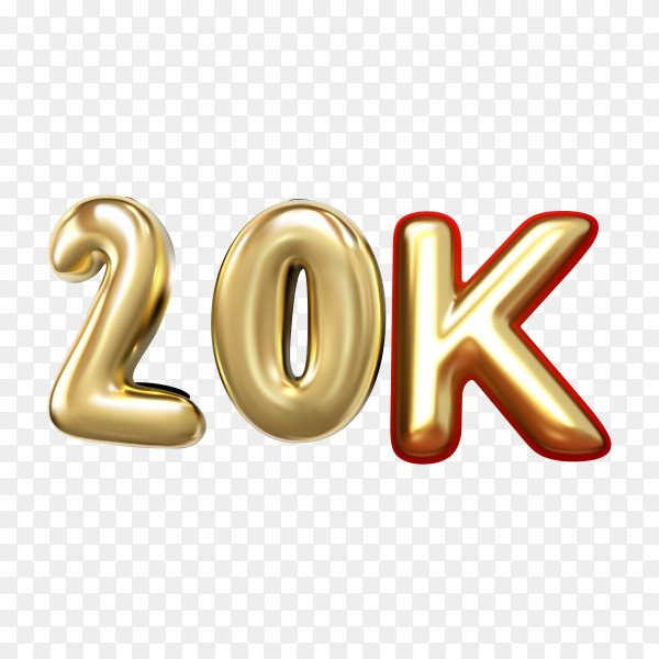 20k followers 3d rendered isolated with golden balloon on transparent background PNG