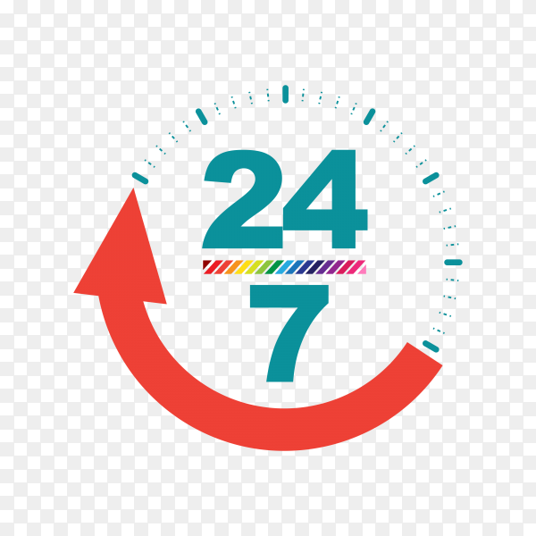 24 hours open customer service icon transparent background PNG