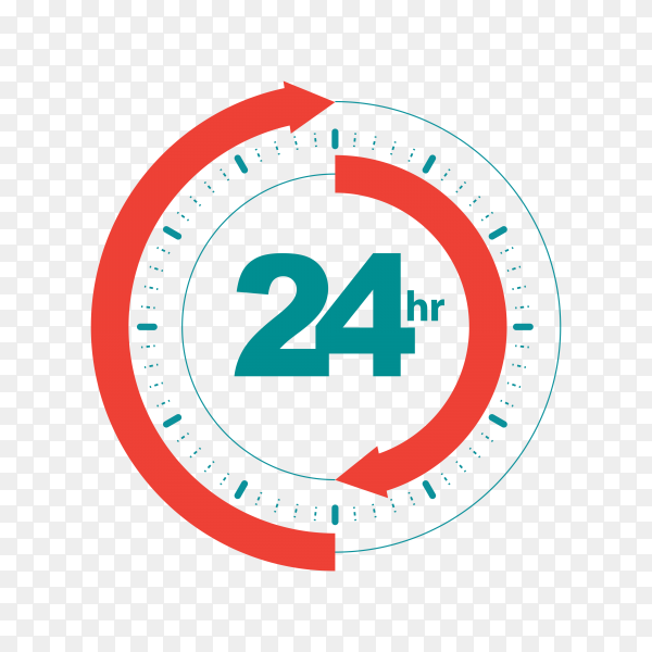 24 hours open customer service illustration on transparent background PNG