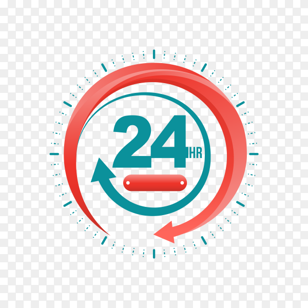 24 hours open customer service on transparent background PNG