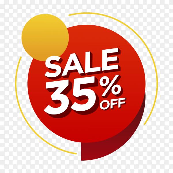 35 percent off sale badge on transparent background PNG