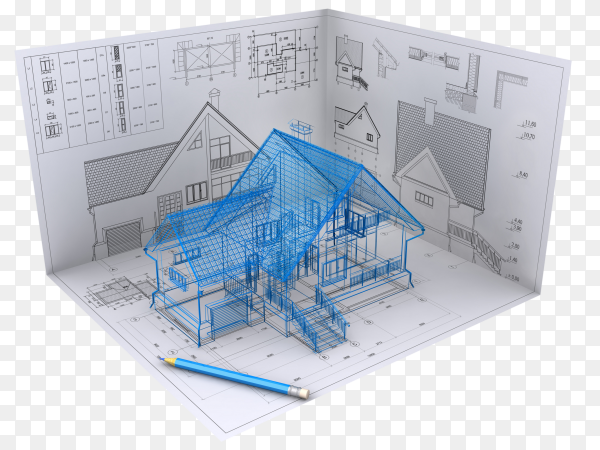 3D isometric view the residential house on architect's drawing on transparent background PNG