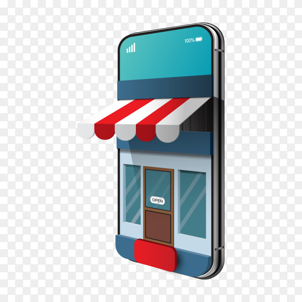 3d online shopping on websites or mobile applications concepts of marketing and digital marketing on transparent background PNG