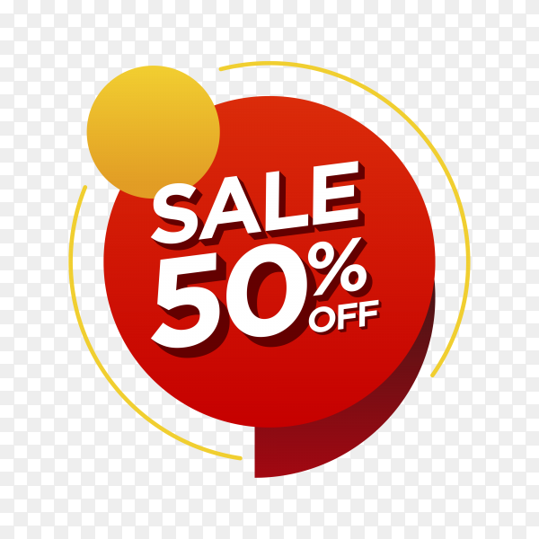 50 percent off sale badge on transparent background PNG