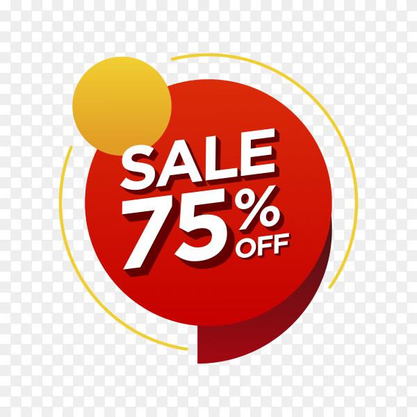 75 percent off sale badge on transparent background PNG