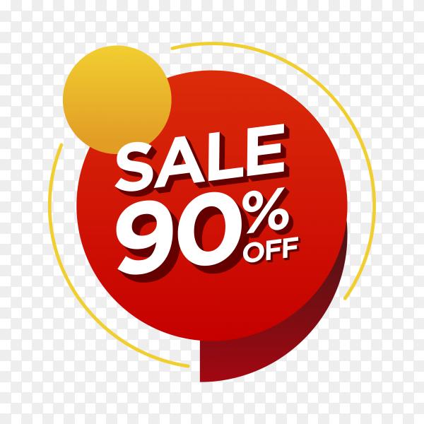 90 percent off sale badge on transparent background PNG