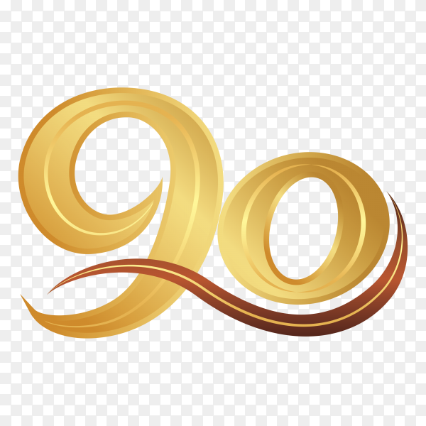 90th anniversary logotype design, 90 years celebrate anniversary logo on transparent background PNG