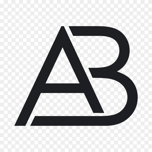 AB abstract logo design on transparent background PNG