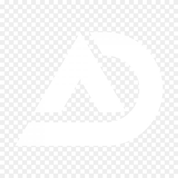 AD letters logo design template on transparent background PNG