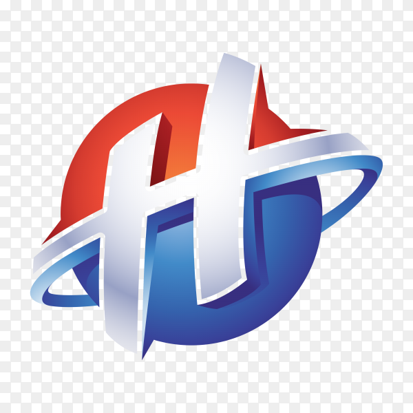 Abstract Letter H 3D Logo on transparent background PNG