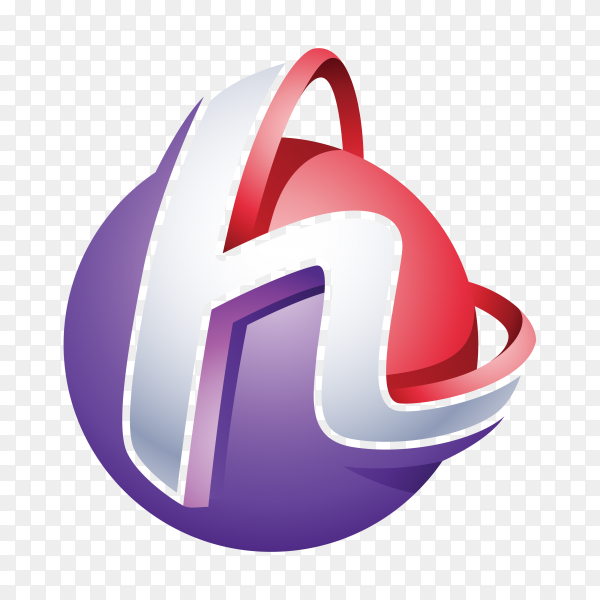 Abstract Letter H 3D Logo template on transparent background PNG