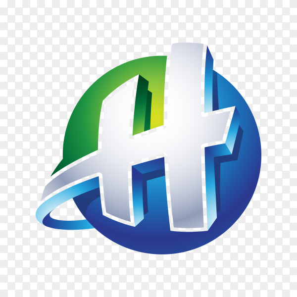 Abstract Letter H Logo – 3D Sphere Logo template on transparent background PNG