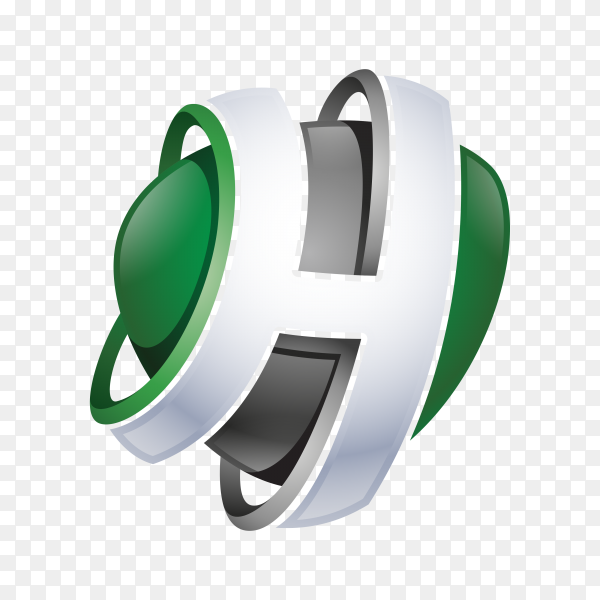 Abstract Letter H Logo on transparent background PNG