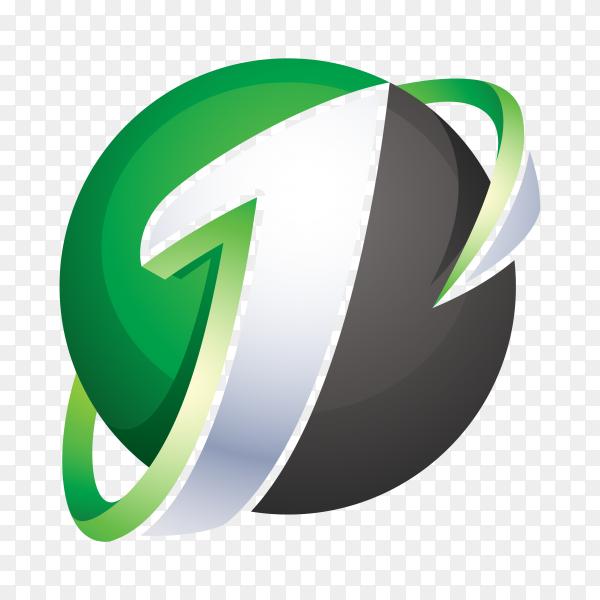Abstract Letter J Logo – 3D Sphere Logo on transparent background PNG