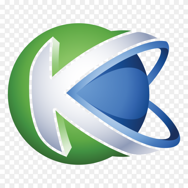 Abstract Letter K Logo isolated on transparent background PNG