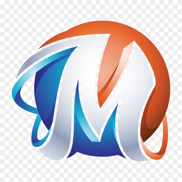 Abstract Letter M Logo template on transparent PNG