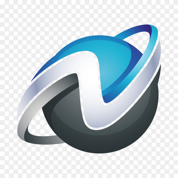 Abstract Letter N Logo – 3D Sphere Logo on transparent background PNG