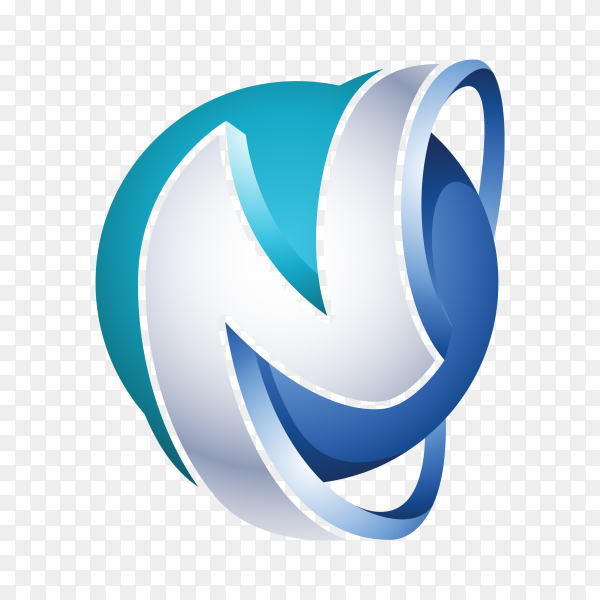 Abstract Letter N Logo – 3D Sphere Logo template on transparent background PNG