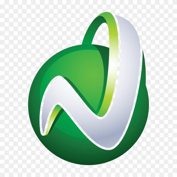 Abstract Letter N Logo design on transparent background PNG