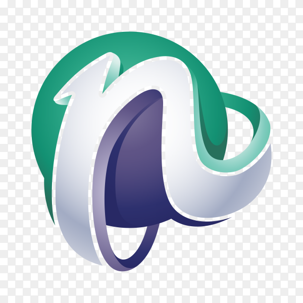 Abstract Letter N Logo on transparent background PNG