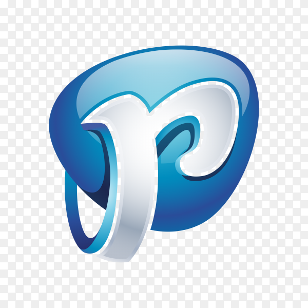 Abstract Letter P Logo on transparent background PNG