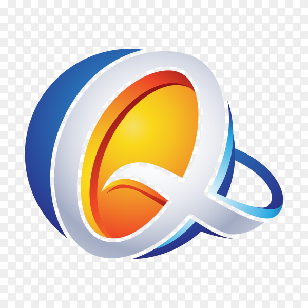 Abstract Letter Q Logo on transparent background PNG