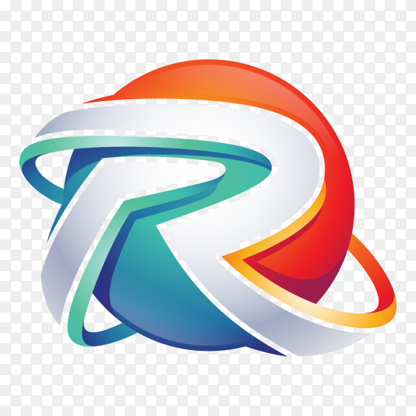 Abstract Letter R Logo – 3D Sphere Logo on transparent background PNG