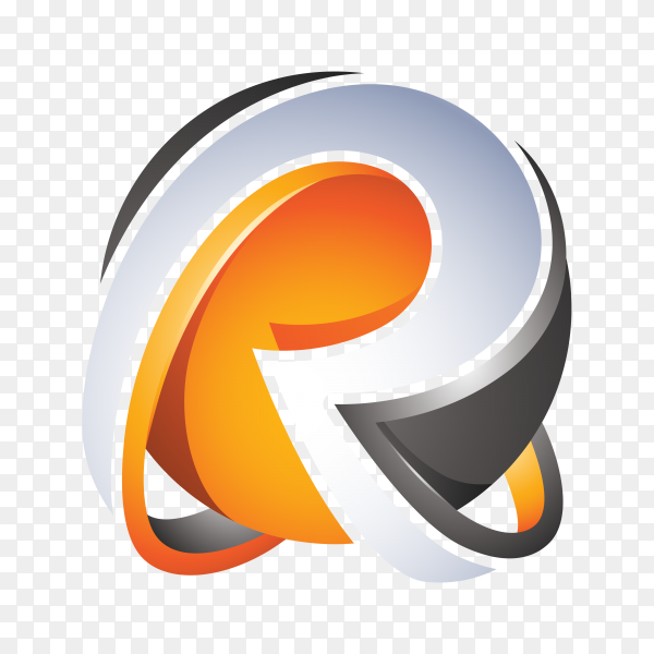 Abstract Letter R Logo on transparent background PNG