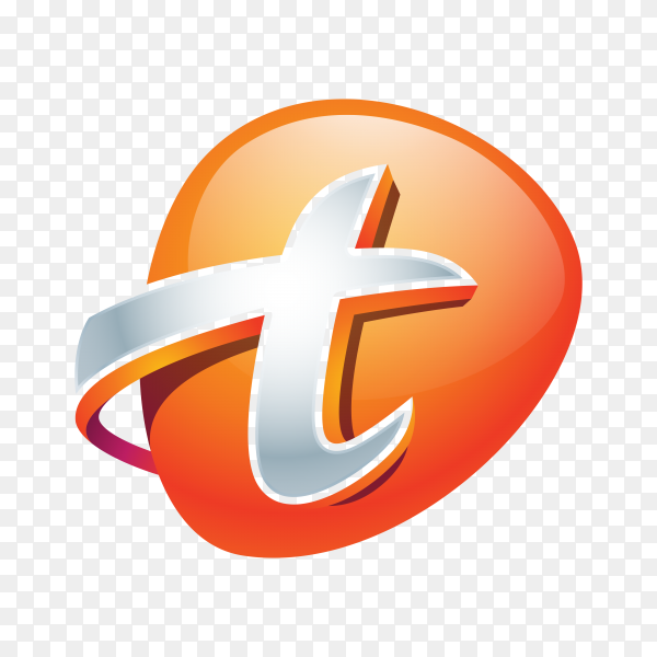 Abstract Letter T Logo on transparent background PNG