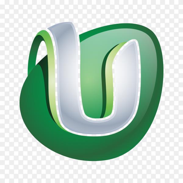 Abstract Letter U Logo on transparent background PNG