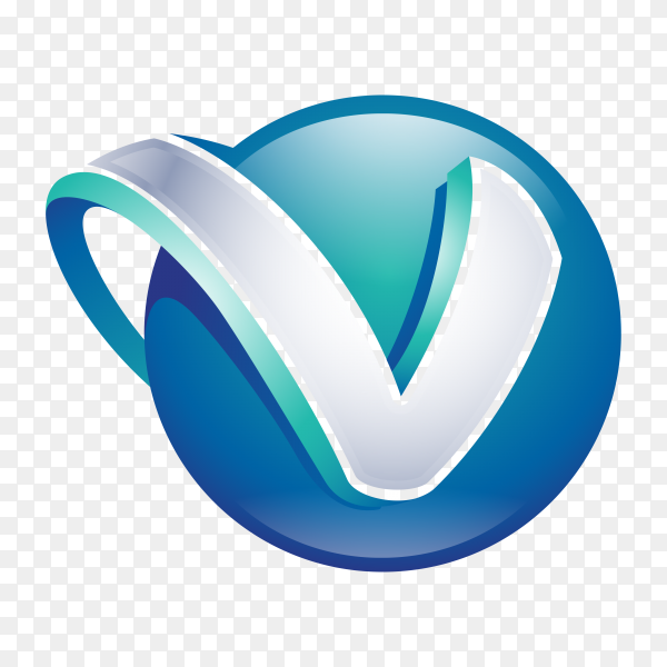 Abstract Letter V Logo in blue color on transparent background PNG