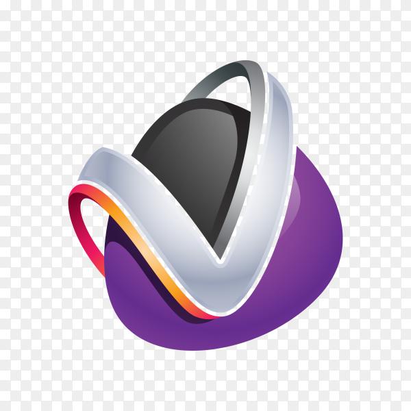 Abstract Letter V Logo on transparent background PNG