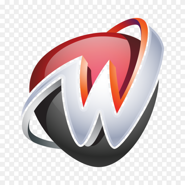 Abstract Letter W Logo on transparent background PNG