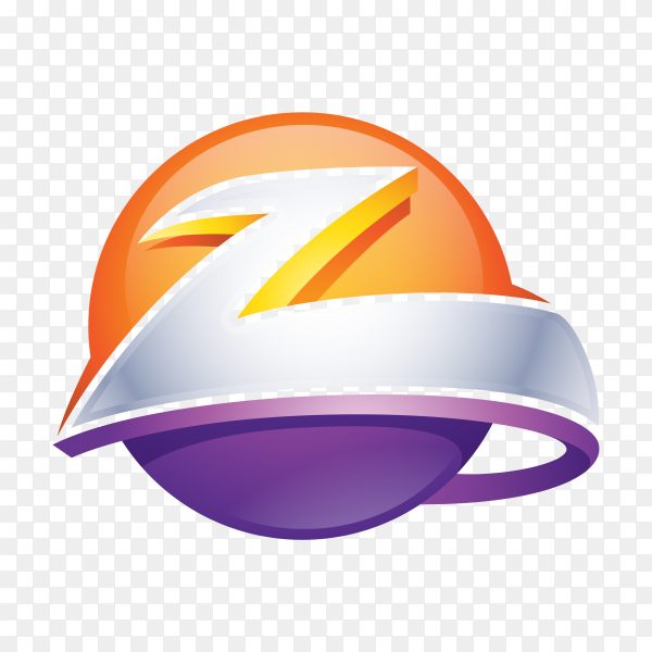 Abstract Letter Z Logo – 3D Sphere Logo on transparent background PNG