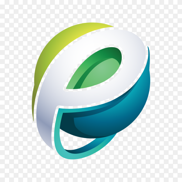 Abstract Letter e Logo design on transparent background PNG