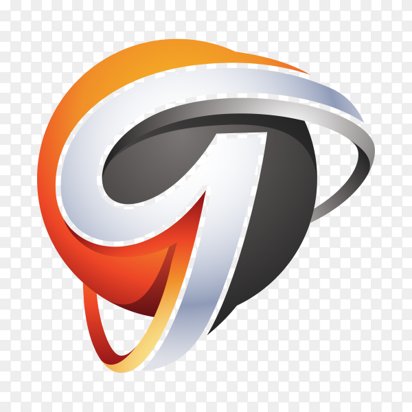 Abstract Letter g 3D Logo on transparent background PNG