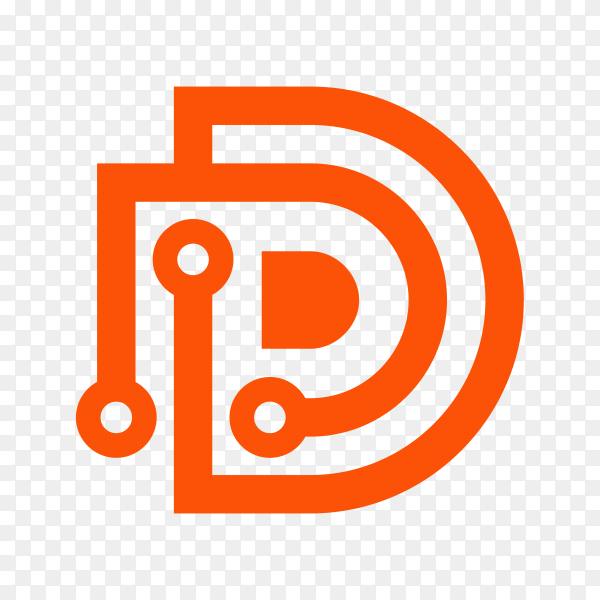 Abstract letter D logo design template on transparent background PNG
