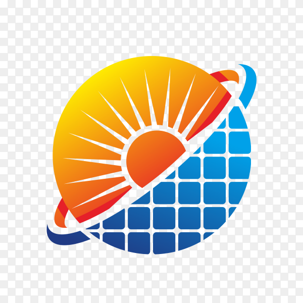 Abstract modern solar energy logo design on transparent background PNG