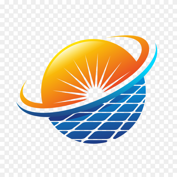 Abstract solar energy logo design isolated on transparent background PNG