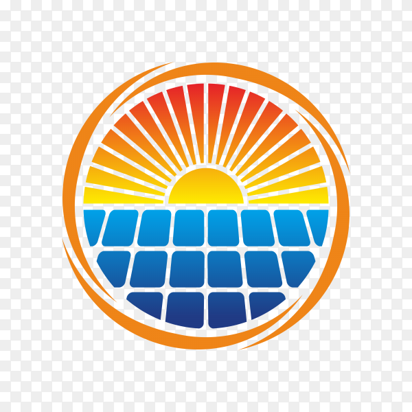 Abstract solar energy logo design on transparent background PNG