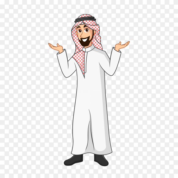 Arabic Businessman cartoon Character in traditional clothes spreading his hands to the sides showing or presenting something on transparent background PNG