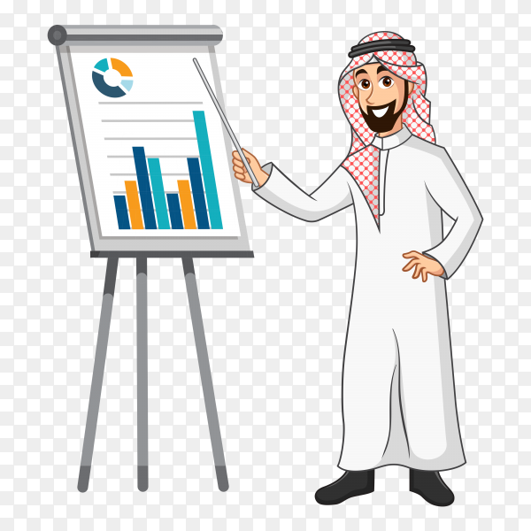 Arabic businessman cartoon character in traditional clothes doing a presentation isolated on transparent background PNG